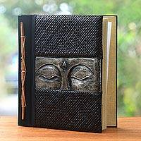 Wood and natural fiber photo album, 'Sight of Buddha in Silver' - Buddha-Themed Wood and Natural Fiber Photo Album in Silver