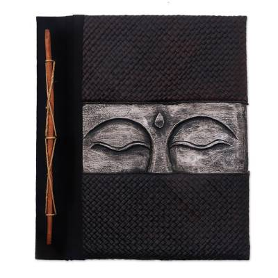 Buddha-Themed Wood and Natural Fiber Photo Album in Silver