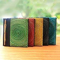 Natural fiber journals, 'Hedge Maze' (set of 5)