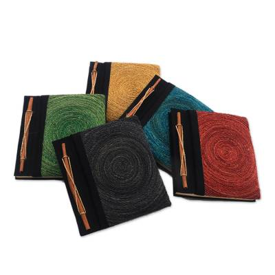 Natural fiber journals, 'Hedge Maze' (set of 5) - Assorted Color Natural Fiber Journals from Bali (Set of 5)