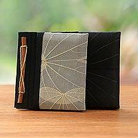 Natural fiber journals, 'Autumn Scribble' (pair) - Handmade Banana Bark and Kupu-Kupu Leaf Notebook (Pair)