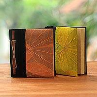 Natural leaf journals, 'Orange and Yellow Kupu-Kupu' (pair) - Orange and Yellow Kupu-Kupu Leaf Journals from Bali (Pair)