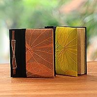 Natural leaf journals, 'Orange and Yellow Kupu-Kupu' (pair)