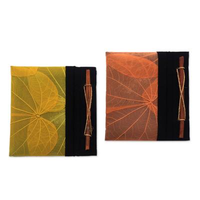 Natural leaf journals, 'Orange and Yellow Kupu-Kupu' (pair) - Orange and Yellow Kupu-Kupu Leaf Journals from Bali (Pair)