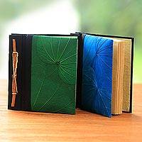 Natural leaf journals, 'Blue and Green Kupu-Kupu' (pair) - Blue and Green Kupu-Kupu Leaf Journals from Bali (Pair)