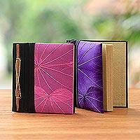 Natural leaf journals, 'Pink and Purple Kupu-Kupu' (pair) - Pink and Purple Kupu-Kupu Leaf Journals from Bali (Pair)