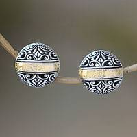 Gold accent sterling silver button earrings,