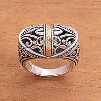 18k gold accent sterling silver dome ring, 'Spring Horizon' - Sterling Silver Gold Plated Openwork Cocktail Ring