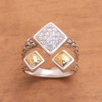 Gold accent white topaz cocktail ring, Queens Eden
