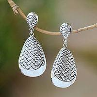Sterling silver dangle earrings, 'Weave Drops' - Sterling Silver Bedeg Weave Droplet Dangle Earrings