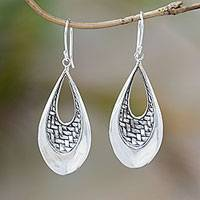 Sterling silver dangle earrings, 'Woven Allure' - Sterling Silver Teardrop Bedeg Weave Dangle Earrings