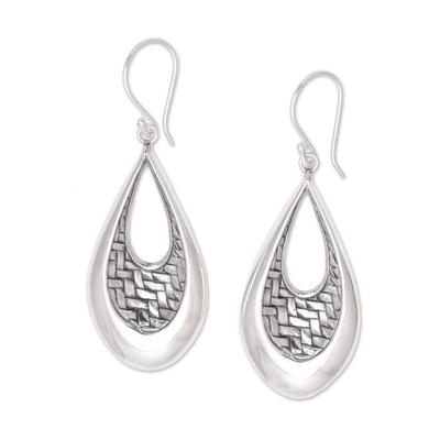 Sterling silver dangle earrings, 'Woven Allure' - Sterling Silver Teardrop Bedeg Weave Dangle Earrings
