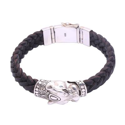 Men's sterling silver braided pendant bracelet, 'Panther Palace' - Men's Leather and Sterling Silver Panther Braided Bracelet