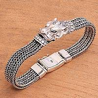 Men's sterling silver braided bracelet, 'Mystic Panther' - Men's Sterling Silver Braided Chain Panther Bracelet