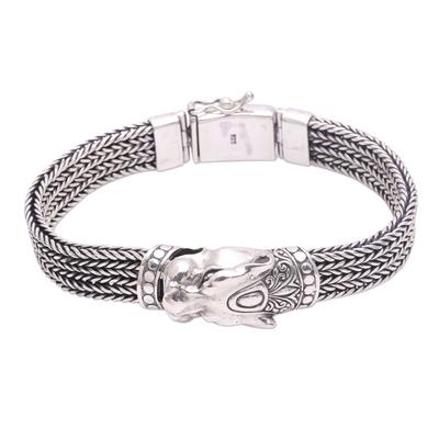 Men's sterling silver chain bracelet, 'Mystic Panther' - Men's Sterling Silver Naga Chain Panther Bracelet