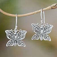 Sterling silver dangle earrings, 'Glorious Wings' - Sterling Silver Spring Butterfly Wings Dangle Earrings
