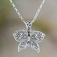 Sterling silver pendant necklace, 'Glorious Wings' - Sterling Silver Winged Butterfly Pendant Necklace