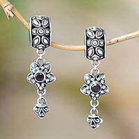 Garnet dangle earrings, 'Petal Allure' - Sterling Silver and Garnet Floral Elongated Dangle Earrings