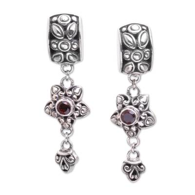 Garnet dangle earrings, 'Petal Allure' - Sterling Silver and Garnet Floral Elongated Dangle Earrings
