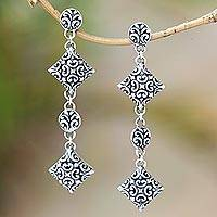 Sterling silver dangle earrings, 'Exuberant Vines' - Sterling Silver Elongated Floral Vine Theme Dangle Earrings