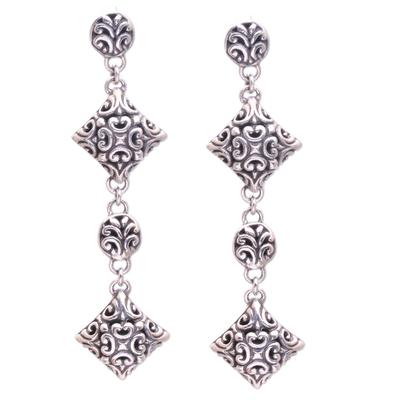 Sterling silver dangle earrings, 'Exuberant Vines' - Sterling Silver Elongated Floral Vine Theme Dangle Earrings
