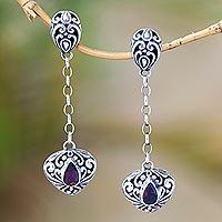 Garnet dangle earrings, 'Klunkung Majesty' - Long Garnet and Sterling Dangle Earrings