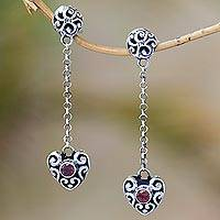 Garnet dangle earrings, 'Balinese Hearts' - Sterling Silver and Red Garnet Heart Dangle Earrings