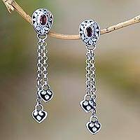 Garnet dangle earrings, 'Bouncing Hearts' - Red Garnet and Sterling Silver Heart Dangle Earrings