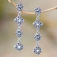 Sterling silver dangle earrings, 'Floral Raindrops' - Ornate Sterling Silver Elongated Floral Dangle Earrings