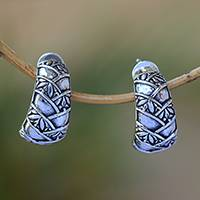 Sterling silver drop earrings, 'Bamboo Views' - Sterling Silver Leafy Bamboo Arches Drop Earrings