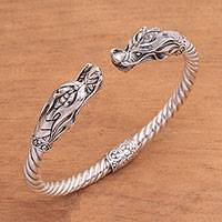 Sterling silver cuff bracelet, 'Soaring Dragon' - Handcrafted Sterling Silver Two Dragon Head Cuff Bracelet