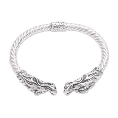 Handcrafted Sterling Silver Two Dragon Head Cuff Bracelet