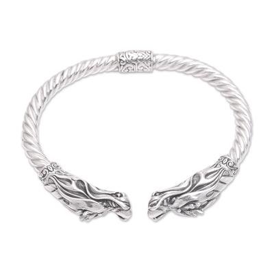 Sterling silver cuff bracelet, 'Soaring Dragon' - Handcrafted Sterling Silver Two Dragon Head Cuff Bracelet