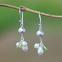 Cultured pearl and peridot dangle earrings, 'Snow Drops' - Cultured Pearl and Peridot Cluster Dangle Earrings from Bali