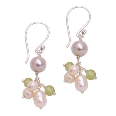 Cultured Pearl and Peridot Cluster Dangle Earrings from Bali