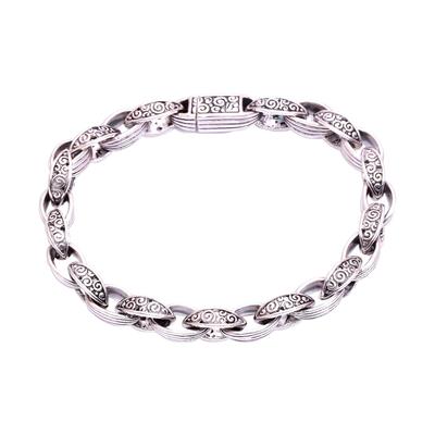 Sterling silver link bracelet, 'Buddha's Curls' - Sterling Silver Link Bracelet Crafted in Bali