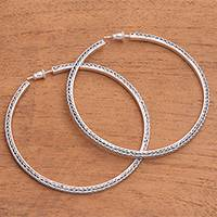 Sterling silver half-hoop earrings, 'Naga Loops' (2.4 inch) - Naga Chain Sterling Silver Half-Hoop Earrings (2.4 in.)