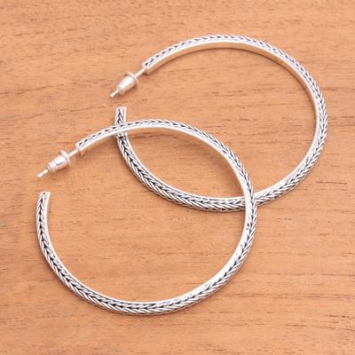 Sterling Silver Half Hoop Earrings Naga Loops 2 Inch