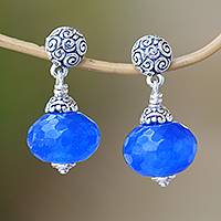 Chalcedony dangle earrings, 'Azure Buddha' - Blue Chalcedony Dangle Earrings from Bali