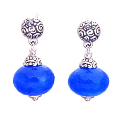 Chalcedony dangle earrings, 'Azure Buddha' - Blue Chalcedony Dangle Earrings from Bali