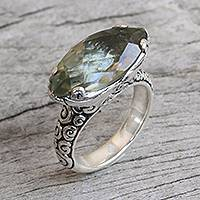 Prasiolite cocktail ring, 'Glittering Boat' - 4-Carat Prasiolite Cocktail Ring from Bali