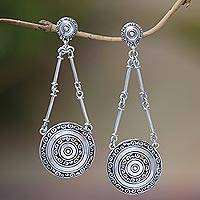 Sterling silver dangle earrings, 'Hiding Eden' - Sterling Silver Buddha Curl Motif Dangle Earrings from Bali
