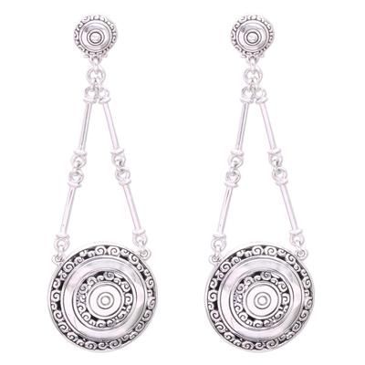 Sterling silver dangle earrings, 'Hiding Eden' - Sterling Silver Buddha Curl Motif Dangle Earrings from Bali