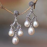 Cultured pearl chandelier earrings, 'Bamboo Glow' - Cultured Pearl Chandelier Earrings from Bali
