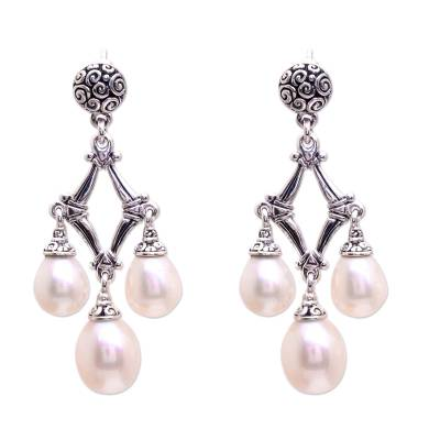 Cultured pearl chandelier earrings, 'Bamboo Glow' - Cultured Pearl Chandelier Earrings from Bali