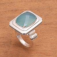 Chalcedony cocktail ring, 'Vintage Charm' - Chalcedony Cocktail Ring from Bali