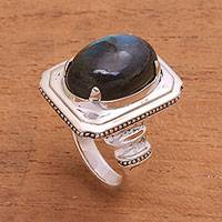 Labradorite cocktail ring, 'Vintage Charm' - Labradorite Cocktail Ring from Bali