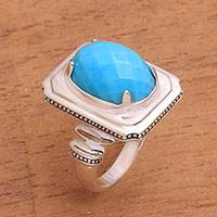 Turquoise cocktail ring, 'Vintage Charm' - Natural Turquoise Cocktail Ring from Bali