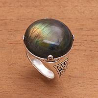 Labradorite domed ring, 'Cosmic Dome' - Labradorite Domed Cocktail Ring from Bali