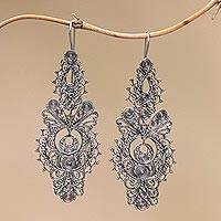 Sterling silver filigree dangle earrings, 'Peacock Empress' - Handmade Sterling Silver Filigree Dangle Earrings from Bali